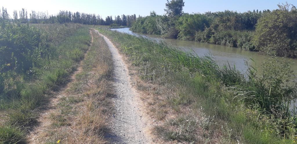 Le canal de la Robine au sud de Narbonne.